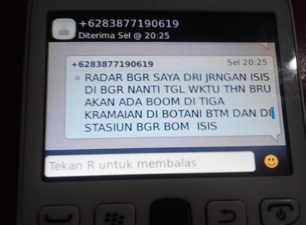 SMS  ISIS ancam bom mal di Bogor
