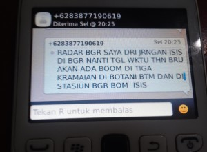 SMS  ISIS ancam bom mal dan Stasiun Bogor