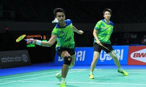Ganda campuran terbaik Indonesia Tontowi Ahmad/Liliyana Natsir ditundukkan Liu Cheng/Bao Yixin (Tiongkok) di laga perdana BWF Superseries Finals 2014. Foto: PBSI