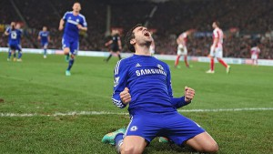 Selebrasi Cesc Fabregas usai menjebol gawang Stoke City. Foto: istimewa