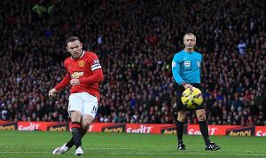 Wayne Rooney membuka keran gol MU ke gawang Liverpool. Foto: istimewa