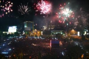 Perayaan tahun baru di lapangan Pancasila