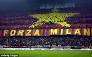 Fans AC Milan. Foto: getty images