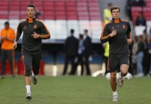 Bale dan Ronaldo dalam sesi latihan.
