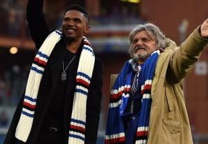Presiden Sampdoria, Massimo Ferrero memperkenalkan Eto'o ke hadapan pendukungnya dalam pertandingan lawan Palermo akhir pekan kemarin.