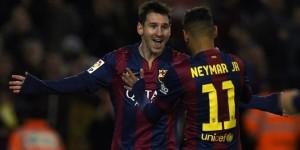 Messi dan Neymar menjadi pahlawan kemenangan 6-0 Barca atas Elche, Minggu (25/1) dinihari tadi.