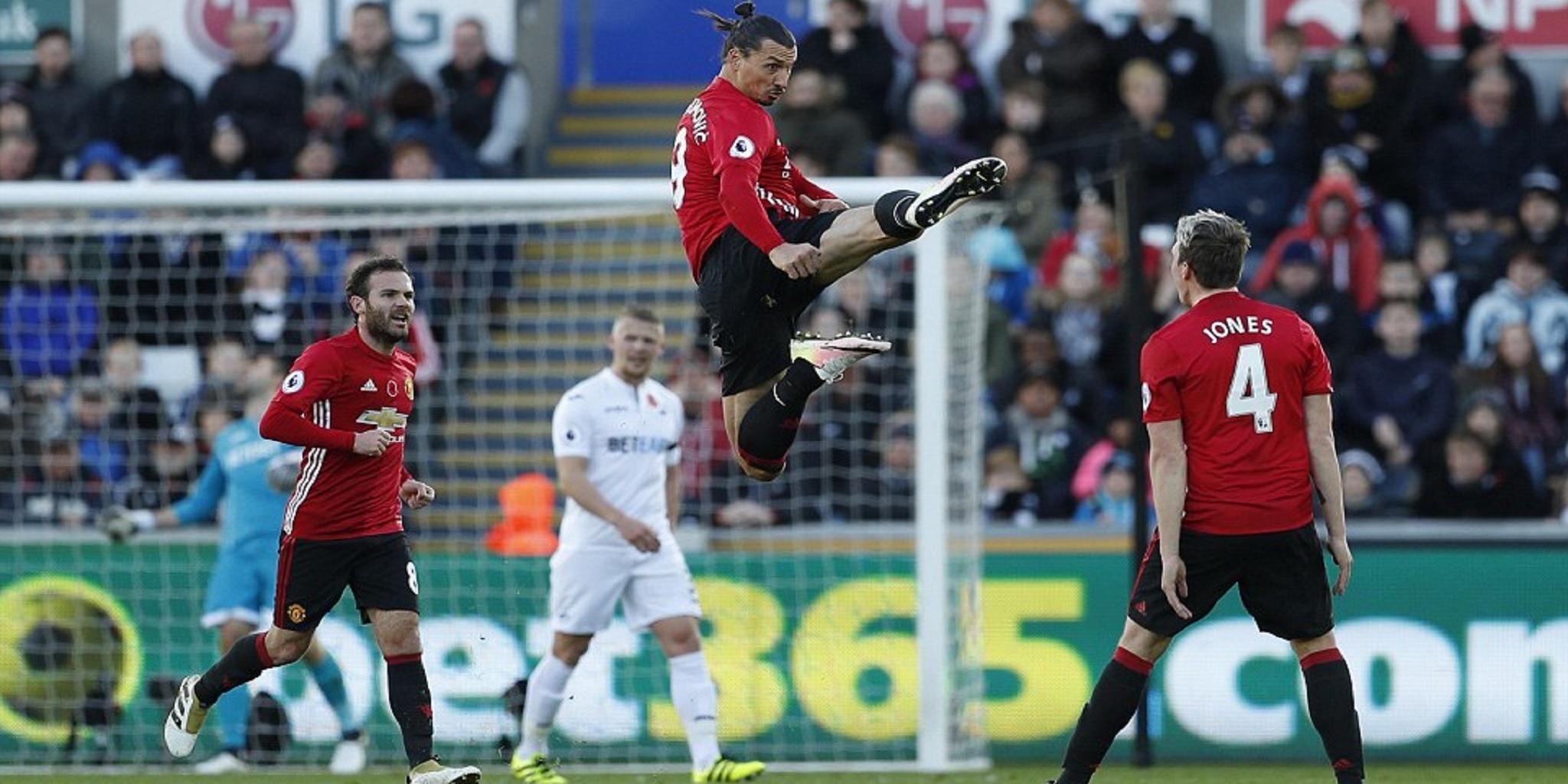 zlatan ibrahimovic, swansea vs mu, manchester united, paul pogba