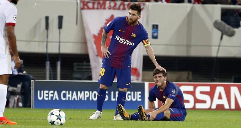 CIDERA - Pemain Barcelona Sergi Roberto menambah daftar panjang pemain Barcelona yang cidera. (fcbarcelona.com)