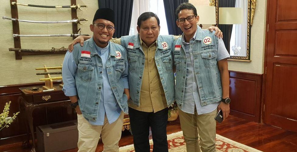 Dahnil Anzar Simanjuntak bersama Prabowo-Sandi