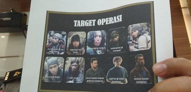 Foto wajah kelompok teroris MIT pimpinan Ali Kolara di Sulawesi Tengah