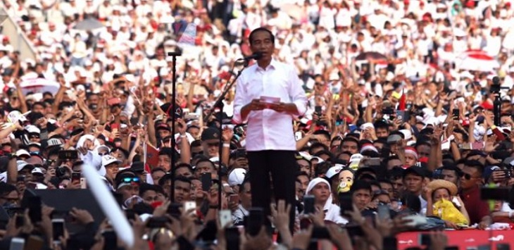 Kampanye akbar Jokowi Maruf Amin di SUGBK, Sabtu (13/4/2019) sore. ft/jawapos, debat kelima, laporan dana kampanye