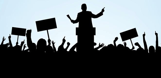Ilustrasi aksi demo dan orasi