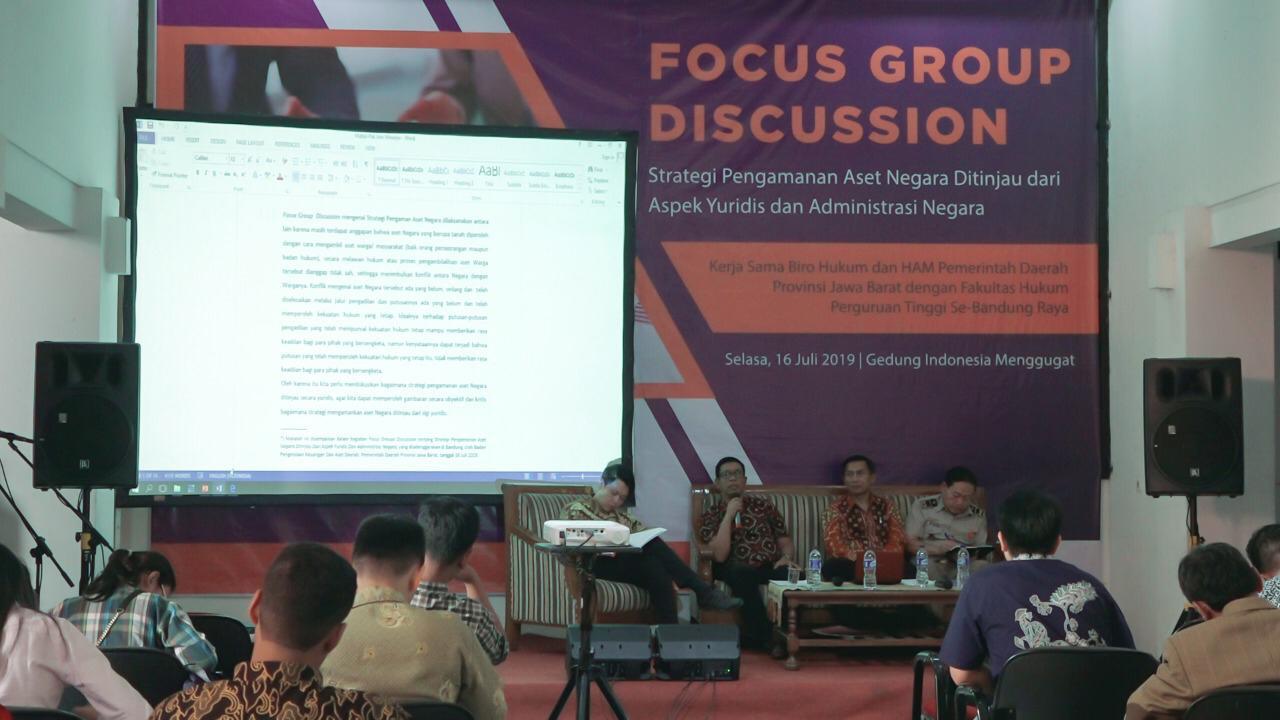 Forum Discussion Group dengan topik Strategi Pengamanan Aset Negara Ditinjau dari Aspek Yuridis dan Administrasi Negara di Gedung Indonesia Menggugat, Kota Bandung, Selasa (16/7/2019).