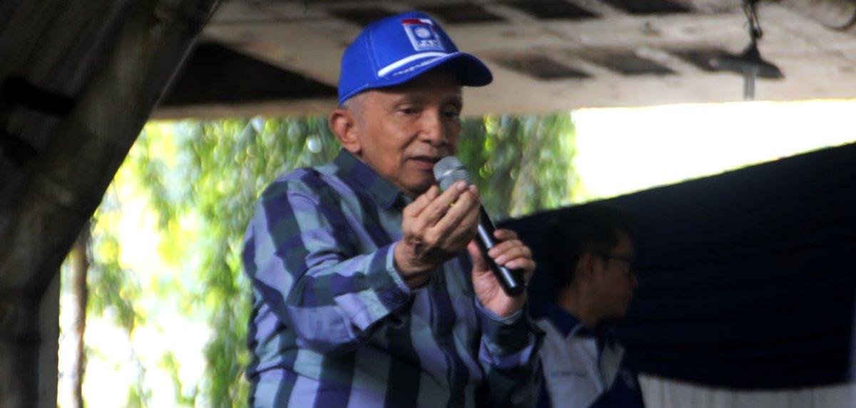 Ketua Dewan Kehormatan PAN Amien Rais sampaikan pidato dalam Milad ke-21 PAN di Kolong Tol Pejagalan Pluit, Jakarta Utara, Jumat (23/8/2019). Foto ist
