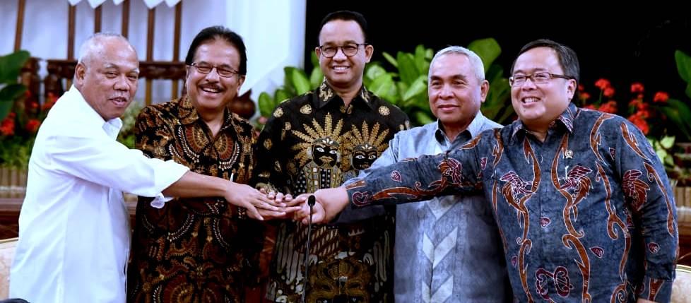 Gubernyur DKI Jakarta Anies Baswedan turut hadir saat Presiden Jokowi umumkan Ibukota Negara pindah dari DKI ke Kalimantan Timur