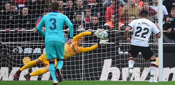 Marc-Andre ter Stegen menggagalkan eksekusi penalti Maximiliano Gomez pada laga Valencia kontra Barcelona di Estadio de Mestalla (Valencia), Sabtu (25/1/2020) malam WIB.