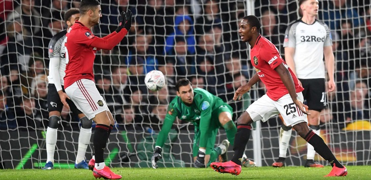 Odion Ighalo mencetak brace dalam kemenangan 3-0 Manchester United atas Derby County pada putaran kelima FA Cup, di Pride Park (Derby), Jumat (6/3/2020) dini hari WIB.