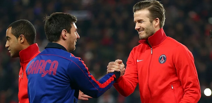 Lionel Messi dan David Beckham.