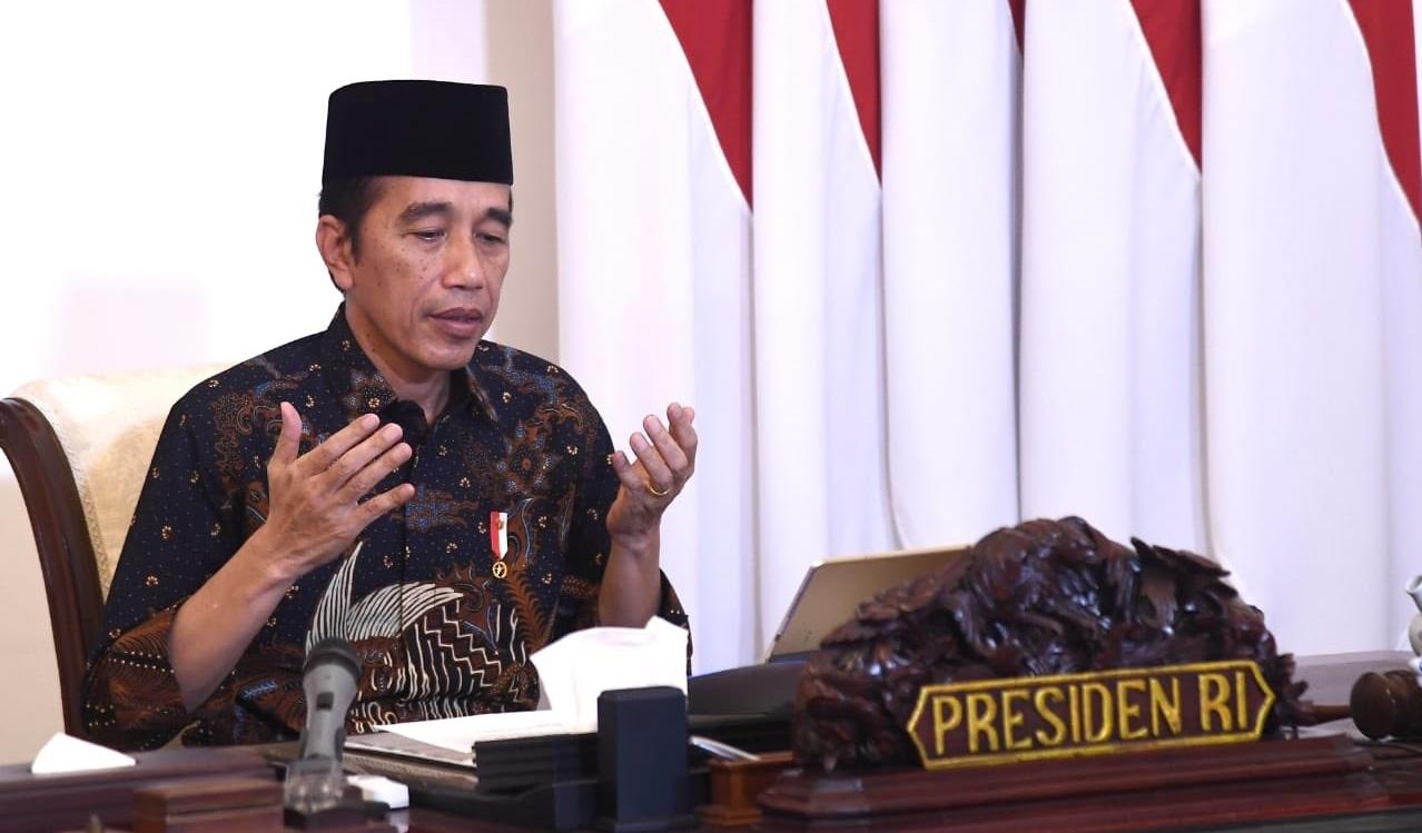 Presiden Jokowi memimpin rapat terbatas secara virtual. Foto Setneg