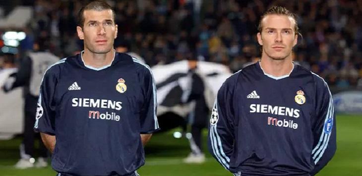 Zinedine Zidane dan David Beckham ketika sama-sama membela Real Madrid.