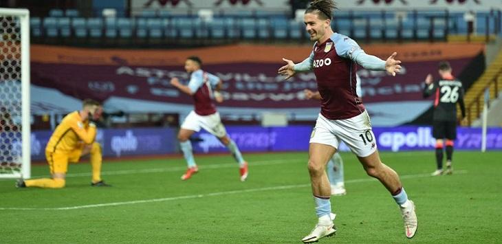 Kapten Aston Villa, Jack Grealish menyumbang tiga assist dan dua gol saat mengalahkan Liverpool 7-2 di Villa Park, Senin (5/10/2020) dini hari WIB.