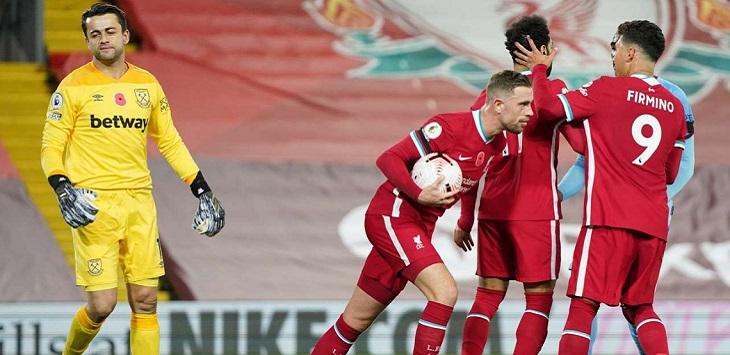 Liverpool mengalahkan West Ham United 2-1 di Anfield Stadium, Minggu (1/11/2020) dini hari WIB.