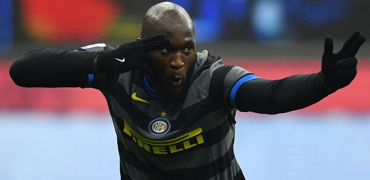 Selebrasi gol Romelu Lukaku (Inter Milan) usai membobol gawang Napoli di Giusepee Meazza, Kamis (17/12/2020) dini hari WIB.