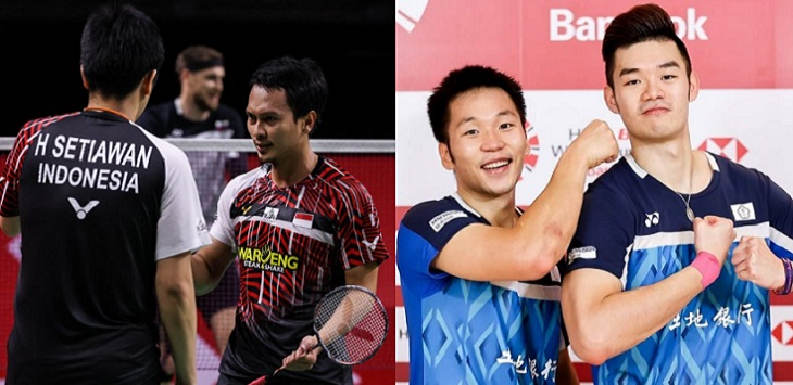 Mohammad Ahsan / Hendra Setiawan (Indonesia) dan Lee Yang / Wang Chi Lin (Taiwan).
