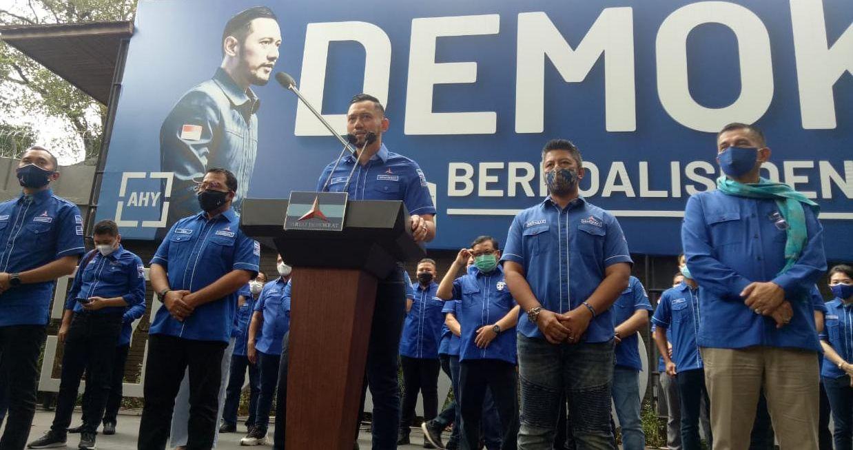AHY membuat pernyataan usai KLB kubu Moeldoko dinyatakan kalah oleh pemerintah Jokowi (mufit)