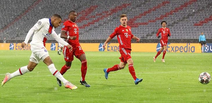 Kylian Mbappe membuka keunggulan Paris Saint-Germain atas Bayern Munich di Allianz Arena, Kamis (8/4/2021) dini hari WIB, bayern vs psg