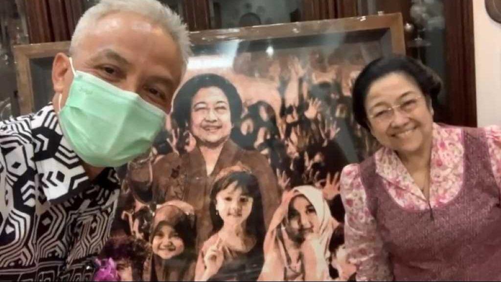 Ganjar Pranowo mengantarkan lukisan Djoko Susilo dan bertemu langsung dengan Megawati Soekarnoputri. Foto Instragram Djoko Susilo