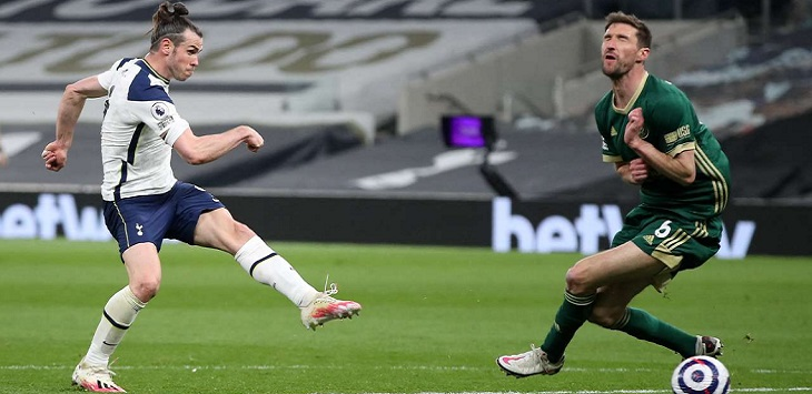 Gareth Bale mencetak hattrick dalam kemenangan 4-0 Tottenham Hotspur atas Sheffield United, Senin (3/5/2021) dini hari WIB.