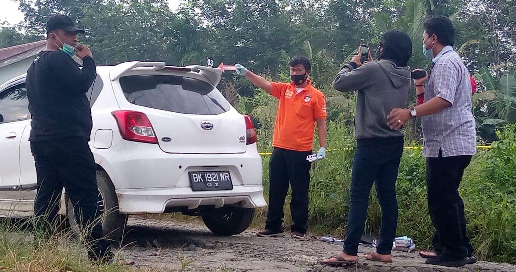 Olah TKP penembakan pemred media online Mara Salem Harahap di wilayah Siantar (ist)