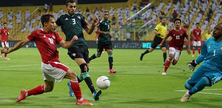 Pertandingan Indonesia lawan Uni Emirat Arab (UEA) di Stadion Zabeel, Dubai, Sabtu (12/6/2021) dini hari WIB.