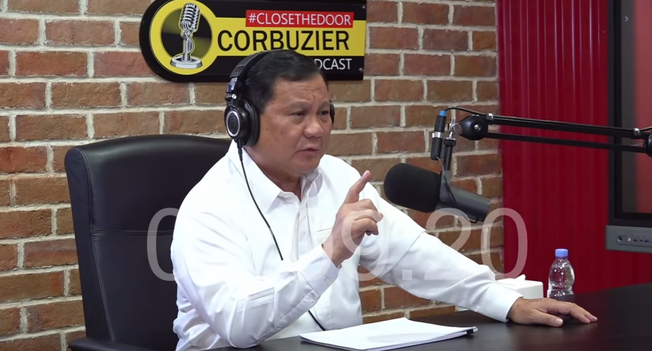 Prabowo Subianto blak-blakan dalam podcast Deddy Corbuzier, Minggu (13/6/2021).