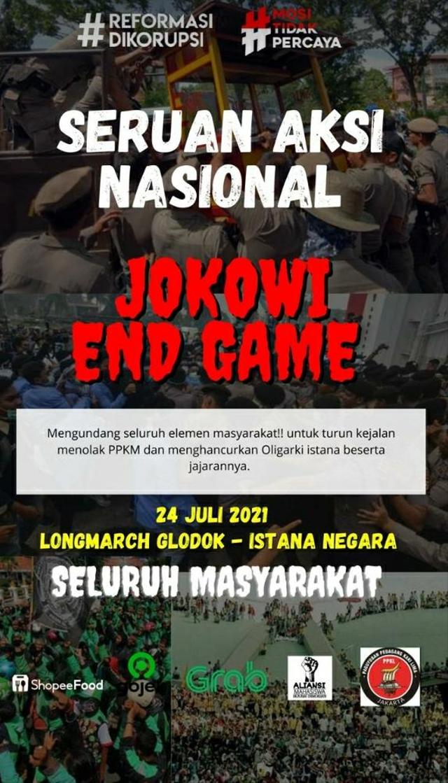 Poster ajakan demo 'Jokowi End Game' yang mencatut logo Gojek dan Grab