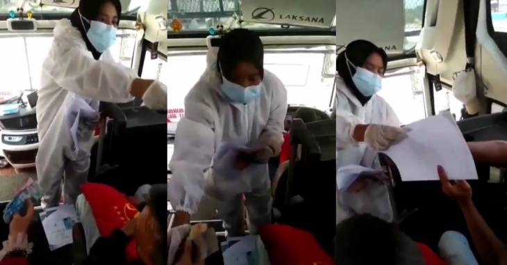 Video wanita pakai APD jualan surat keterangan bebas Covid-19 di bus