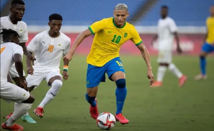 Pertandingan Brasil vs Pantai Gading pada laga kedua Grup D Olimpiade Tokyo di Nissan Stadium, Yokohama, Minggu (25/7/2021).