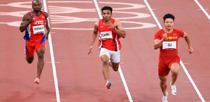 Lalu Muhammad Zohri saat tampil di nomor 100 meter atletik putra Olimpiade Tokyo 2020 di Olympic Stadium, Tokyo, Jepang, Sabtu (31/7) WIB. Ft/NOC Indonesia