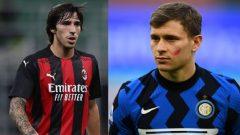 Sandro Tonali (AC Milan) dan Nicolo Barella (Inter Milan).
