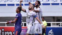 Ilija Spasojevic mencetak sepasang gol pada laga Persita Tangerang vs Bali United, di Stadion Pakansari, Bogor, Jumat (24/9/2021) sore. Ft/Twitter @Liga1Match