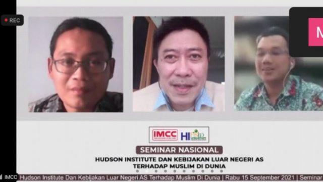 Tangkapan layar seminar nasional daring bertajuk Hudson Institute dan Kebijakan Luar Negeri AS terhadap Muslim di Dunia yang digelar Indonesia Muslim Crisis Center (IMCC), Rabu (15/9/2021).