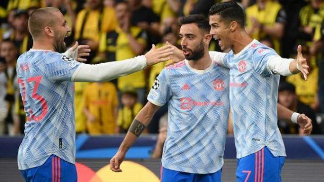 Cristiano Ronaldo merayakan golnya ke gawang Young Boys.